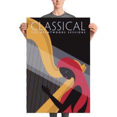 Lovely Harp Player Classic Music Giclee Art Print - 24×36