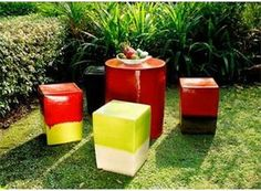 Outdoor ceramic stools and table @ Seasonal Living