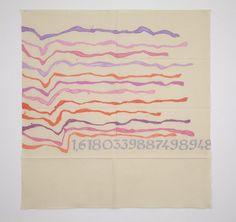 "Giorgio Griffa:  CANONE AUREO (finale 948), 2011 Acrylic on canvas  61.5 x 59"" / 156.2 x 149.9 cm"