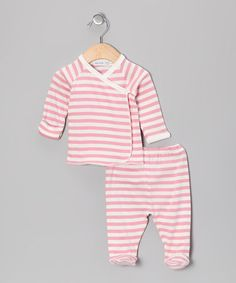 Take a look at this Pink Stripe Wrap Top & Footie Pants by Under the Nile on #zulily today!