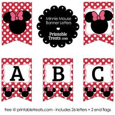Printable Minnie Mouse Banner Letters A-M