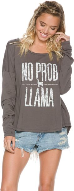 Volcom Prob Llama LS Tee. http://www.swell.com/New-Arrivals-Womens/VOLCOM-PROB-LLAMA-LS-TEE?cs=GR