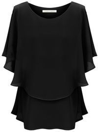 Black Off the Shoulder Ruffles Chiffon Blouse - Sheinside.com