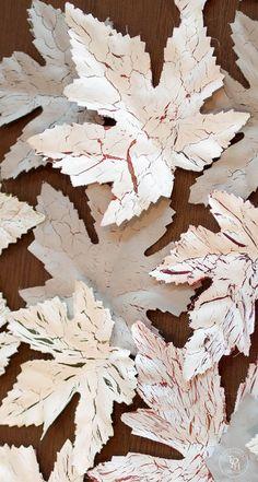 Chalk Paint Dollar Store Leaves Tutorial Part 1 – Crackle!