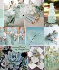 Grayed Jade, Grey and Pastel Mint // el agua de los Masón Jars puede estar pintada color menta