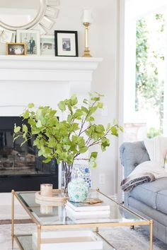 Coffee table beautifully styled for spring