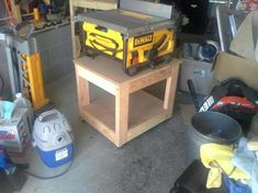 easy table saw stand. I built this table for a new DeWalt table saw. I have 2 locking casters and the saw hasn't moved. I secured the saw to the table w 3 U-bolts.Later, I added a canvas curtain to keep the shelf sawdust-free.