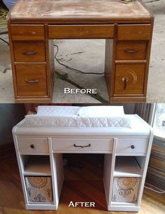 30 Excellent Picture of Diy Nursery Furniture . Diy Nursery Furniture Old Desk Re Purposed Into A Changing Table Future Ba Neal - June 08 2019 at Diy Nursery Furniture, Furniture Plans, Painted Baby Furniture, Old Desks, Ideias Diy, Everything Baby, Baby Time, Repurposed Furniture, Simple Furniture
