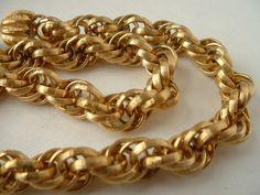 Original TRIFARI Golden Multi Chain Link Necklace by tea500, $38.00