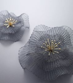 Flower brooch - sowonjoo studio, sterling silver(oxidized), 18k yellow gold, diamond