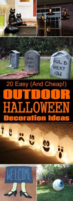 20 Easy (And Cheap!) DIY Outdoor Halloween Decoration Ideas 20 Easy (And Cheap!) DIY Outdoor Halloween Decoration Ideas The post 20 Easy (And Cheap!) DIY Outdoor Halloween Decoration Ideas appeared first on Halloween Decorations. Halloween Party Kinder, Soirée Halloween, Halloween School Treats, Adornos Halloween, Manualidades Halloween, Halloween Disfraces, Halloween Projects, Holidays Halloween, Diy Projects