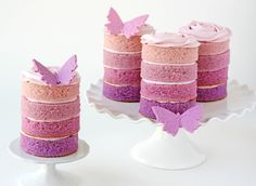 Purple Ombre Mini Cakes » Glorious Treats, not sure if I could get them so perfect! these are gorgeous