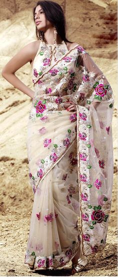 Cream Net #Saree with #Blouse @ $254.62 | Shop Here: http://www.utsavfashion.com/store/sarees-large.aspx?icode=skk13730 #netsaree #snapdeal #India