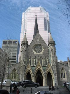 This is Christ Church Anglican Cathedral on Ste Catherine's Street in Montreal, Quebec.