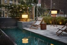 Marset - Cala outdoor floor & table lamp by Joan Gaspar at Hotel Brummell in Barcelona. Outdoor lighting for hotels
