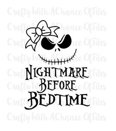 Nightmare Before Bedtime Girl With Bow SVG by CraftyWACofFiles