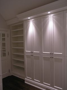 Nice built in cabinets in place of regular closet, easy to find everything