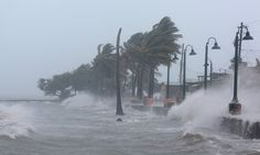 Waves crash against the seawall in Fajardo, Puerto Rico, as Hurricane Irma slammed across islands in the northern Caribbean.