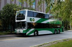 A shot of GO Transit's new double-decker buses. GO Transit provides service in Markham and elsewhere in the Greater Toronto Area. Volkswagen Bus, Volkswagen Beetles, Vw Camper, Go Transit, New Flyer, Greater Toronto Area, Bus Terminal, Park Landscape, Double Decker Bus