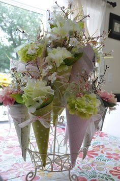 flower cones, would be great for a wedding
