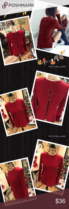 Merlot/wine color backed laced top Color on model is accurate. Pics on dress stand come off red on my end... it is not bright red! Please be aware, refer to model pic. That is accurate coloring! Back laced long sleeves top. Lots of stretch and soft material. Brand new my Boutique.  Similar: urban outfitter, anthropologie, free people, brandy Melville, for love and lemons, stone cold fox, nasty gal, reformation, Zara, april spirit, rag & bone, Rebecca minkoff gypsi's Tops