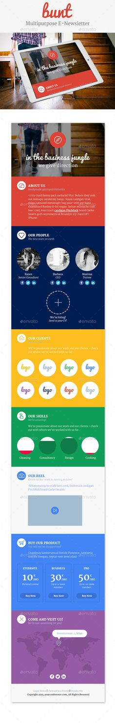 Buy Bunt – Multipurpose e-Newsletter by KerstinKuehne on GraphicRiver. Features Clean and Flat Fully Layered PSD Files Fully Customizable And Editable x 72 DPI RGB Color Mode . List Template, Newsletter Templates, Website Template, One Page Website, Social Icons, Web Design, Flat Design, Infographic Templates, Icon Font