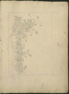 Motif de broderies époque Premier Empire, dessin de Bony,  conservé aux Arts décoratifs à Paris