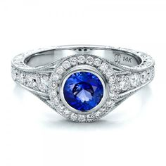 JOSEPH JEWELRY BELLEVUE WA Custom Blue Sapphire and Diamond Halo Engagement Ring $3845