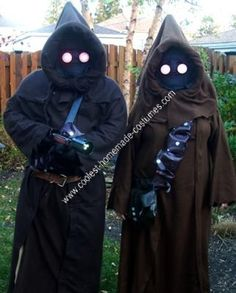 Homemade Jawa Costume Ideas: The Homemade Jawa Costume Ideas took us about a week and about 50 bucks. The materials we used were 4 cheap brown snuggie look alikes for the robes, two
