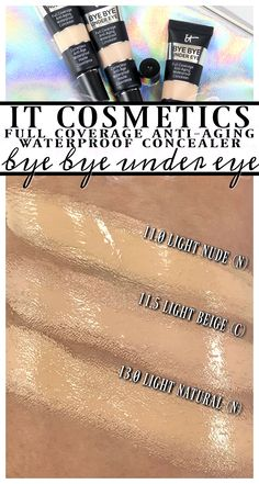 Every IT Cosmetics CC+ Oil-Free Matte Foundation Swatched It Cosmetics Concealer, Best Concealer, Under Eye Concealer, Waterproof Concealer, Makeup Must Haves, Matte Foundation, Blog Love, Beauty Review, Love Makeup