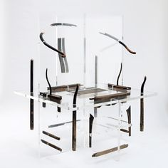 shao fan: contemporary chinese furniture  'project no. 1 of 2004 chair'  acrylic, catalpa  image courtesy of shao fan