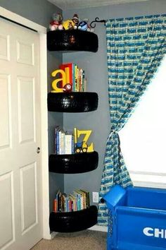 Love these tires used as shelves! My Nascar lover will LOVE these! #Nascar