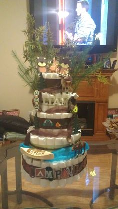 Diaper Cake Camping Theme Baby Shower Camping Baby Shower Pinterest Camping