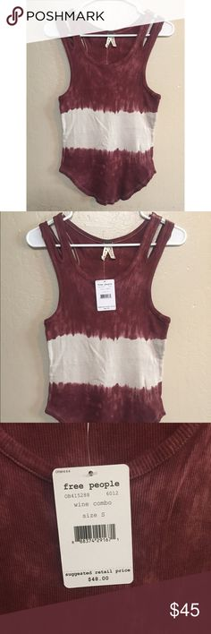 Lowest Price!! NWT tags free people top, color wine combo. Size small. Free People Tops