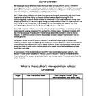 Students identify the author's viewpoint on school uniforms after reading a passage and completing a graphic organizer. Authors Viewpoint, 5th Grade Ela, Middle School Ela, School Uniforms, Class Activities, Readers Workshop, Lesson Planning, Reading Skills, English Lessons