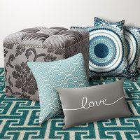 Turquoise and gray are here to stay! Ideal for creating your very own on-trend oasis, this stylish selection is brimming with beautiful bedding, modern throw pillows, dramatic curtains and more. Whether looking for a way to transform décor or simply searching for that final touch, the lovely variety here updates any style.    shop décor
