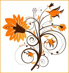 Fall Flowers Clip Art   PSP tube download. Floral Swirl Flower clipart. Great for your ...