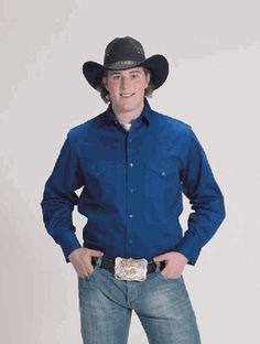 MEN'S Solid Color  Western Shirt Royal
