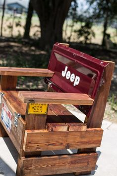 Maroon Jeep Tailgate Bench Made with by DeMiCasaCreations on Etsy
