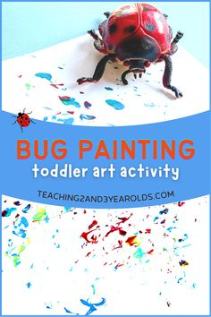 Add some bug painting to your toddlers' day with this fun process art activity. A fun way to explore different types of insects! #toddler #finemotor #bugs #art #painting #process #spring #teaching2and3yearolds Bug Activities, Art Activities For Toddlers, Lesson Plans For Toddlers, Spring Activities, Process Art Preschool, Bug Crafts, Spring Theme, Toddler Art, Painting Process