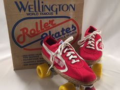 Vintage Roller Skates Wellington Red Yellow Wheels Mens 9 Womens 11 #Wellington