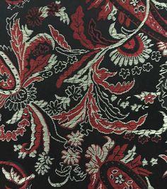 Brocade Fabric-Paisley Black Red