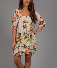 Take a look at the Beige & Yellow Floral Alia Linen Scoop Neck Dress on #zulily today!