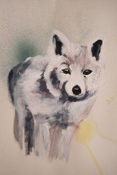 Blij om mijn nieuwste toevoeging aan mijn #etsy shop te kunnen delen: vos, originele tekening A3 formaat, Natuur Bos, mixed media op papier, illustratie, dieren, witte vos, bosdier