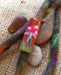 This bead has been hand sculpted out of polymer clay, painted with bright and colorful acrylic paints and then glazed for a nice protective finish! Dreadlock Jewelry, Dreadlock Accessories, Natural Hair Accessories, Natural Hair Styles, Dread Beads, Hippie Chick, Make And Sell, Dreads, Sculpting