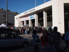 Outside the famous Bislet Stadium