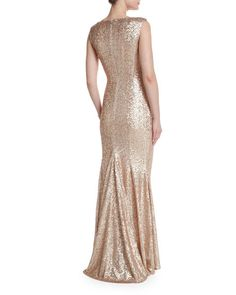 Sleeveless Iridescent Mermaid Gown, Nude