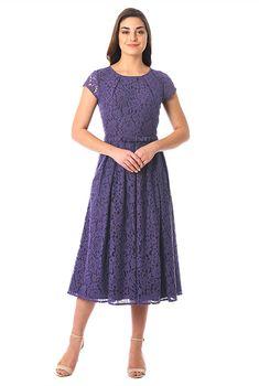 Bow-tie waist floral lace dress-CL0055873