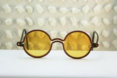 1920's Auburn and Black Celluloid Round Sunglasses