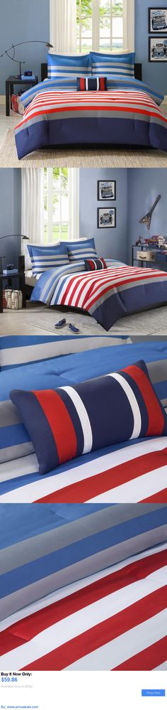 Kids at Home: Mi Zone Boys Bedroom Noah 4-Piece Twin Size Bed In Bag Red Blue Comforter Set BUY IT NOW ONLY: $59.86 #priceabateKidsatHome OR #priceabate